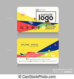 trendy business card with Postmodernism background - trendy...
