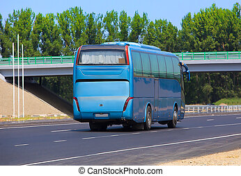 bus traveling on highway - tourist bus traveling on a...