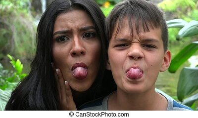 Single Mother And Son Funny Faces