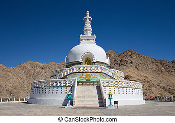 Tall Shanti Stupa near Leh, Ladakh, Jammu and Kashmir, India...