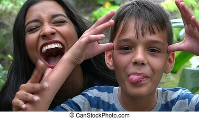 Single Mother And Son Having Fun