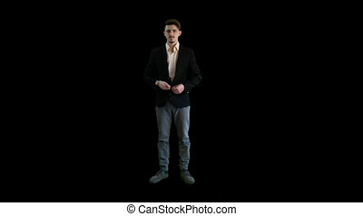 A man in a jacket standing PNG