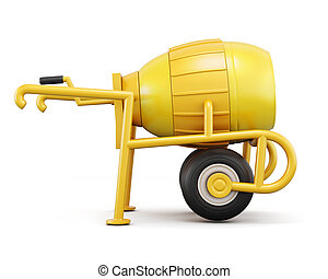 Front view concrete mixer isolated on white background. 3d rende