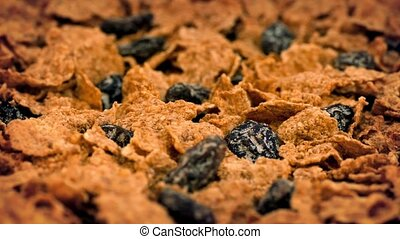 Cereal Flakes And Raisins Rotating - Toasted cereal flakes...