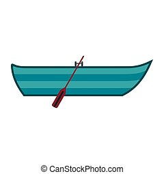 Diving mask icon - Boat with paddles icon in flat style...