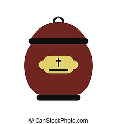 Cremation urn icon in flat style isolated on white...