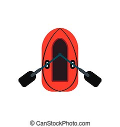 Red inflatable boat with oars icon