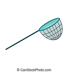Fishing net icon in flat style isolated on white background