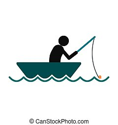Fisherman in a boat icon in flat style isolated on white...