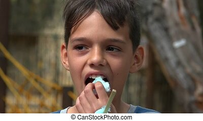 Boy Eating Sugary Snack