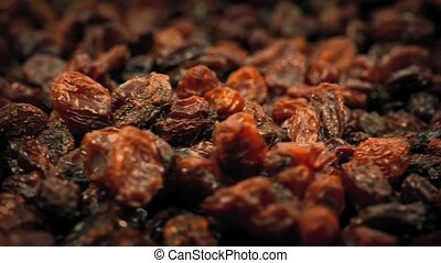 Macro Shot Of Raisins Turning - Closeup of raisins turning...