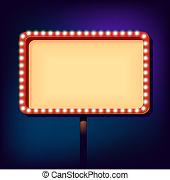 Night retro sign with lights - billboard in retro style with...