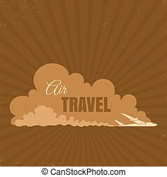 Travel logo - Vector vintage travel logo with plane on the...