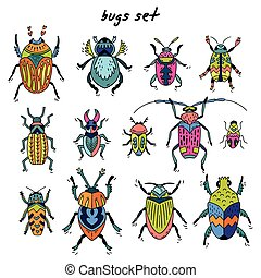 Cartoon bugs in vector set