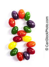 Candy Number 8 - Number 8 made from candies isolated on...