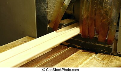 Woodworking shop. View of boards on conveyor, close-up