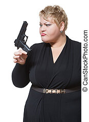 fat woman with a gun.