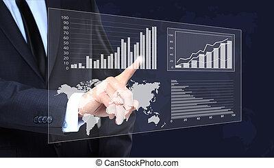 概念, 事務, 圖表, 触, 成長, 商人, 表明