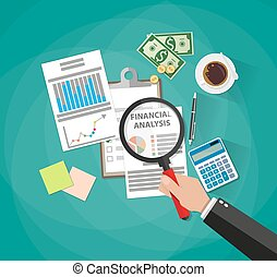 business analysis and planning, financial report - Cartoon...