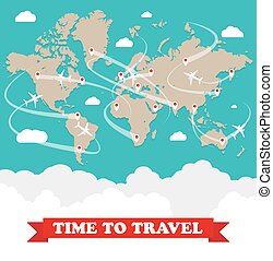 Airplanes map with routes - World map with routes airplane,...