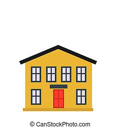 Yellow two-storey house icon