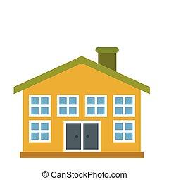 Yellow two-storey house icon