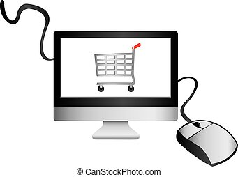 E-commerce - Illustration of a mouse and computer with...