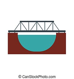 Rail bridge icon - Rail bridge across the river icon in flat...