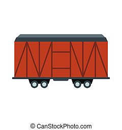 Train cargo wagon icon in flat style isolated on white...