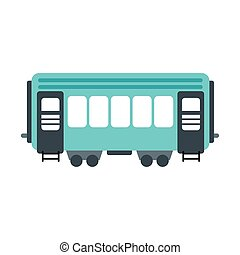 Passenger railway waggon icon in flat style isolated on...