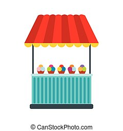 Tent with ice cream icon in flat style isolated on white...