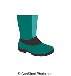 Rubber boots icon in flat style isolated on white background