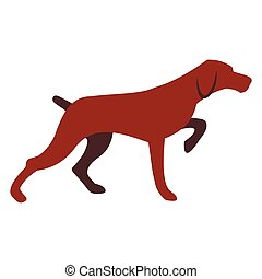 Hunting dog icon in flat style isolated on white background