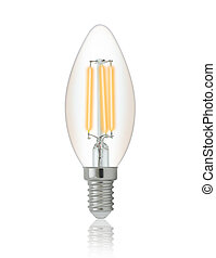 LED filament light bulb E14 With clipping path