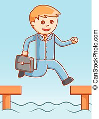 Business man jump illustration desi