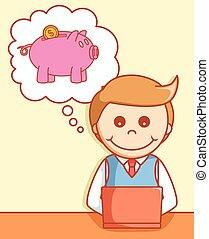 Online banking  doodle illustration