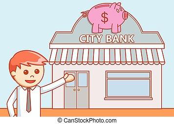 Bank   doodle illustration