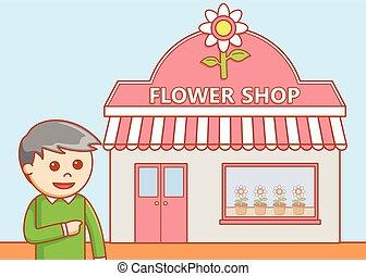Flower shop  doodle illustration