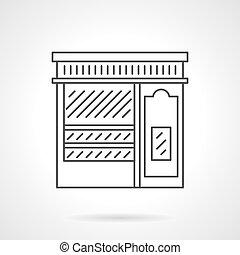 Pastry shop facade flat line vector icon