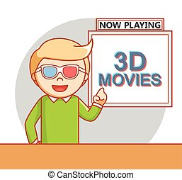 Man watching 3d movie doodle illust