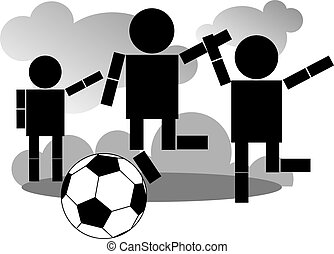 foot ball - Illustration of children playing  with foot ball