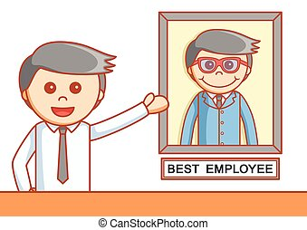 Businesman showing his achievement