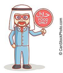 Arabian business man halal food sign