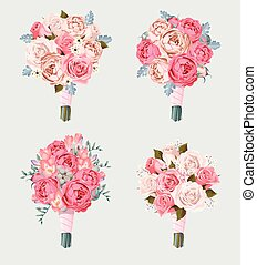 Set of wedding bouquets - Small vector set of wedding...