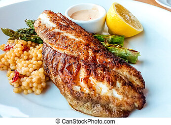 Blackened Tilapia with Couscous - Blackened fish dinner with...