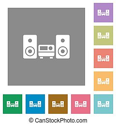 Hifi square flat icons - Hifi flat icon set on color square...