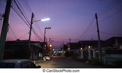 Rural Asia town at twilight - rural town of Asia silhouette...