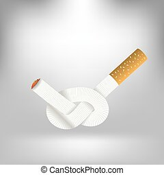 Single Cigarette Knotted and Isolated on Gray Soft...