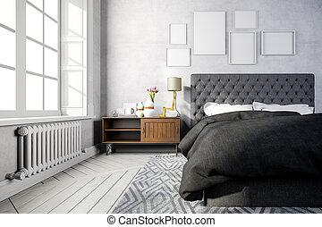 3d beautiful bedroom interior rende
