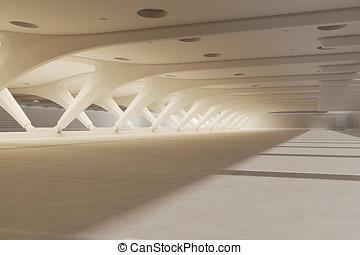 3d render of empty underground parking space